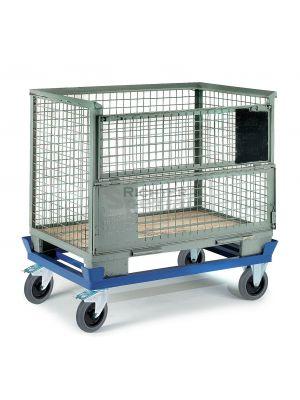 flacher Palettenwagen 290 mm Ladehöhe mit 600 kg Belastbarkeit für Gitterboxen oder Europaletten