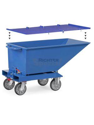 schematische Ansicht des Klappdeckels, hier für das 250kg Gerät in blau