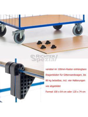 Mit Clipsen befestigter Etagenboden 1215 mm x 800 mm zur variablen Einhängung in die Gitter