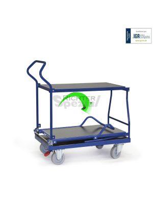 Der Tischwagen mit 2 Ebenen kann mit wenigen Handgriffen zusammengeklappt werden.