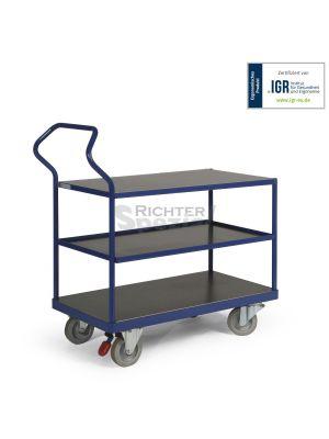 Ergotruck Etagenwagen, 3 Ebenen, obere und untere Ebene sind bündig eingelegt, 500 kg Tragkraft