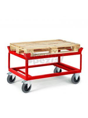 Paletten-Aufsatzfahrgestell 650 mm, 1200 kg Tragkraft mit Vollgummi-Elastik, dargestellt mit TPE-Rädern in rot (Bitte Aufpreise für Farbanpassungen beachten)