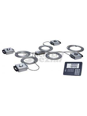 Komplettset mit 4 Wägezellen, je 5 Meter Kabel, Junctionbox und Auswertegerät