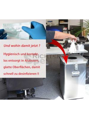 Entsorgen Sie Einweghandschuhe oder Schutzmaterial sicher, hygienisch und kontaktlos in Aluboxen, lieferbar mit 2 Fassungsvermögen