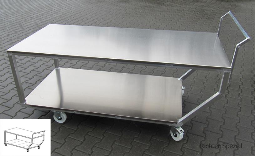 Anfertigung von 5 Tischwagen aus Aluminium für die Lebensmittelindustrie mit gekröpftem Griff und zurückgesetzten Rollen (Beinfreiheit)