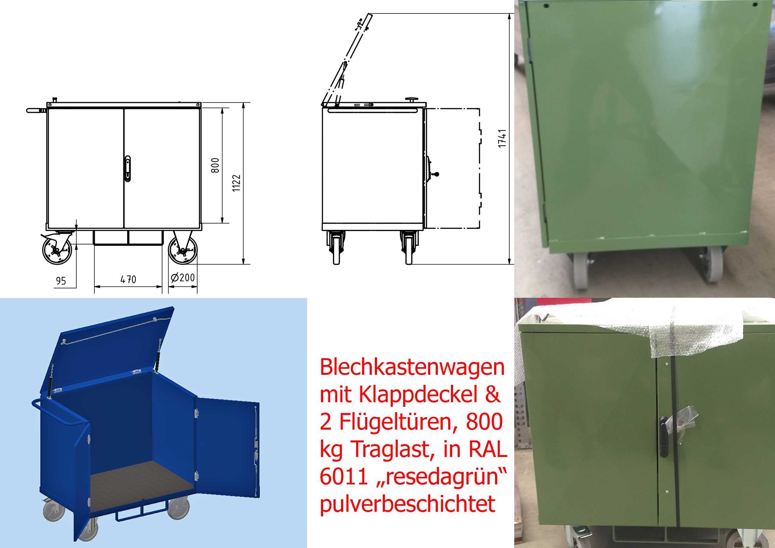 Blechkastenwagen mit 2 Flügeltüren und Klappdeckel, Ladefläche 1050 mm x 700 mm im Lichten, RAL 6011 resedagrün gepulvert
