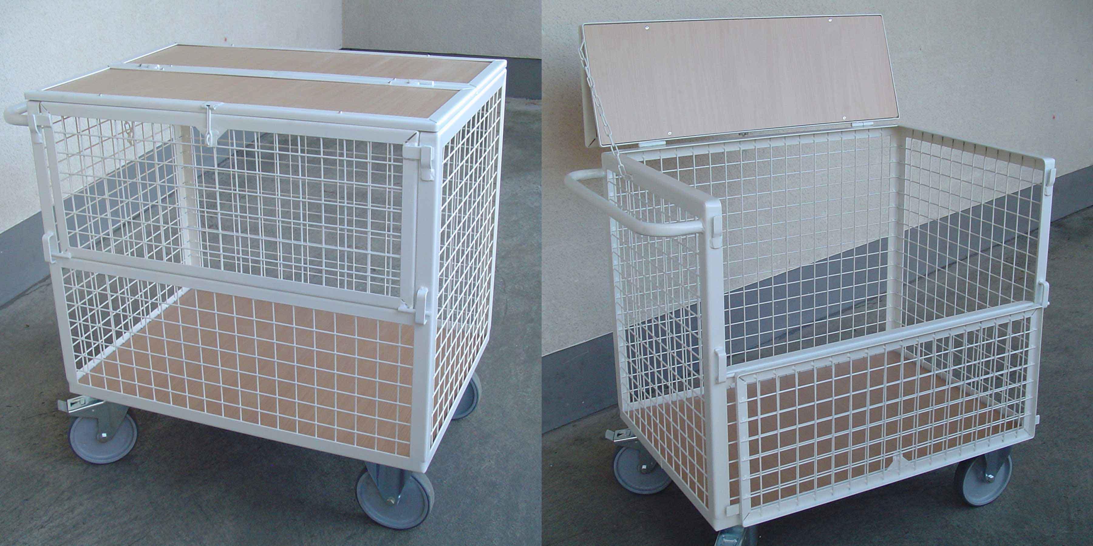 weiß lackierter Gitterwand-Klappwagen mit spurlosen Rädern