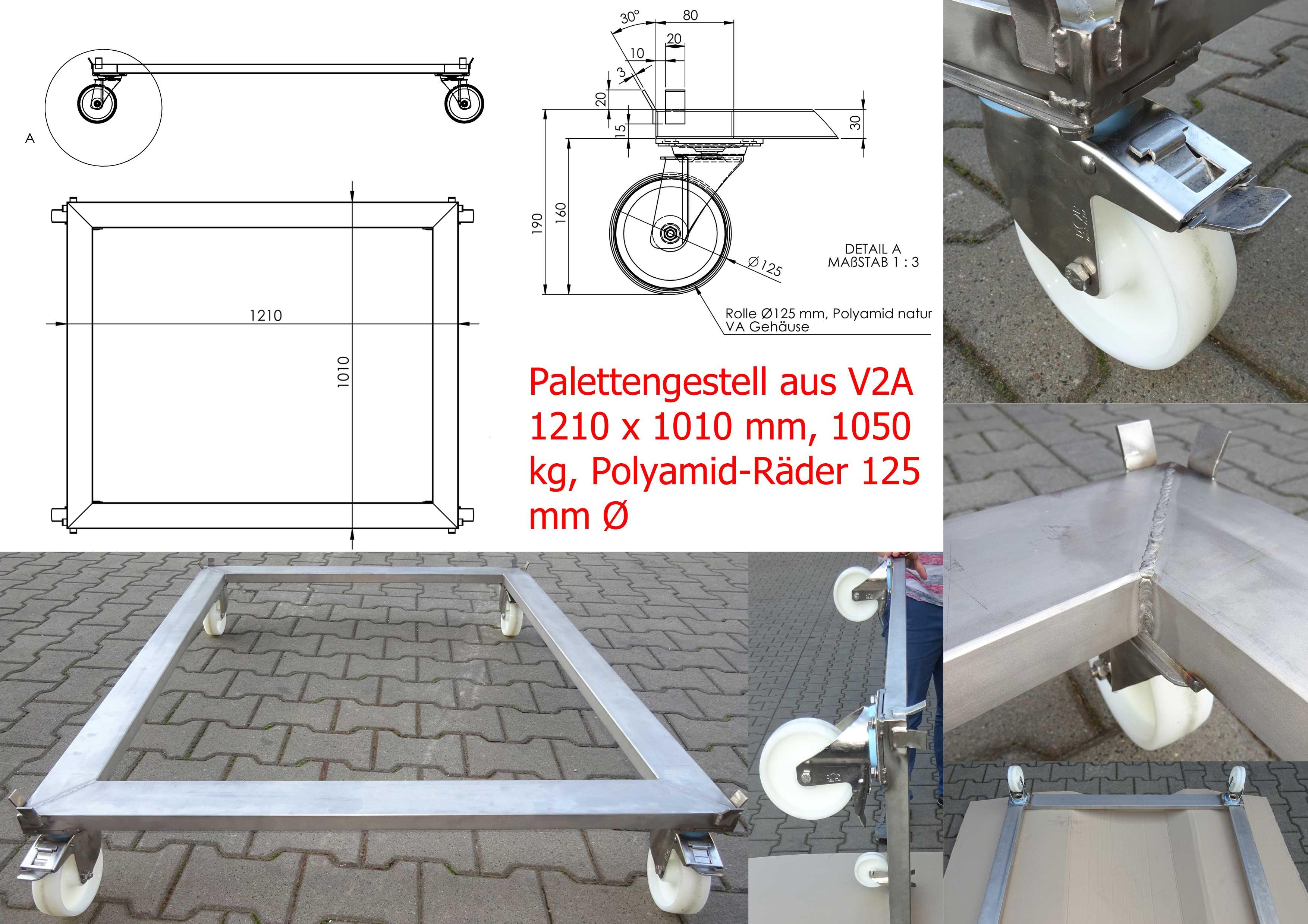 V2A Fahrgestelle im Industrieformat 1210 x 1050 mm mit 125er Polyamidrädern, Traglast 1050 kg