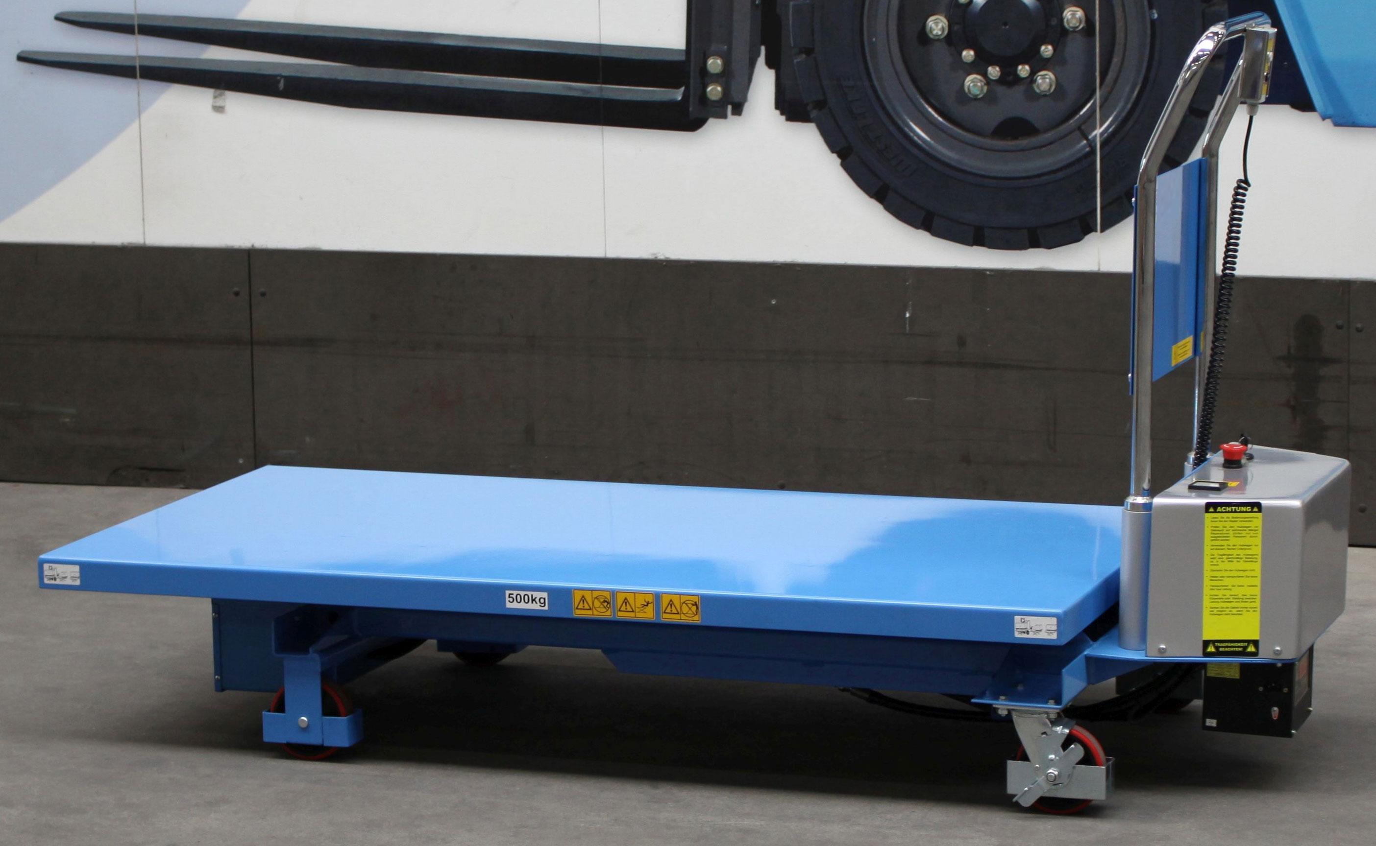 Scherenhubtisch 500 kg Tragkraft mit elektrischem Hub (Akku), hier abgelassen