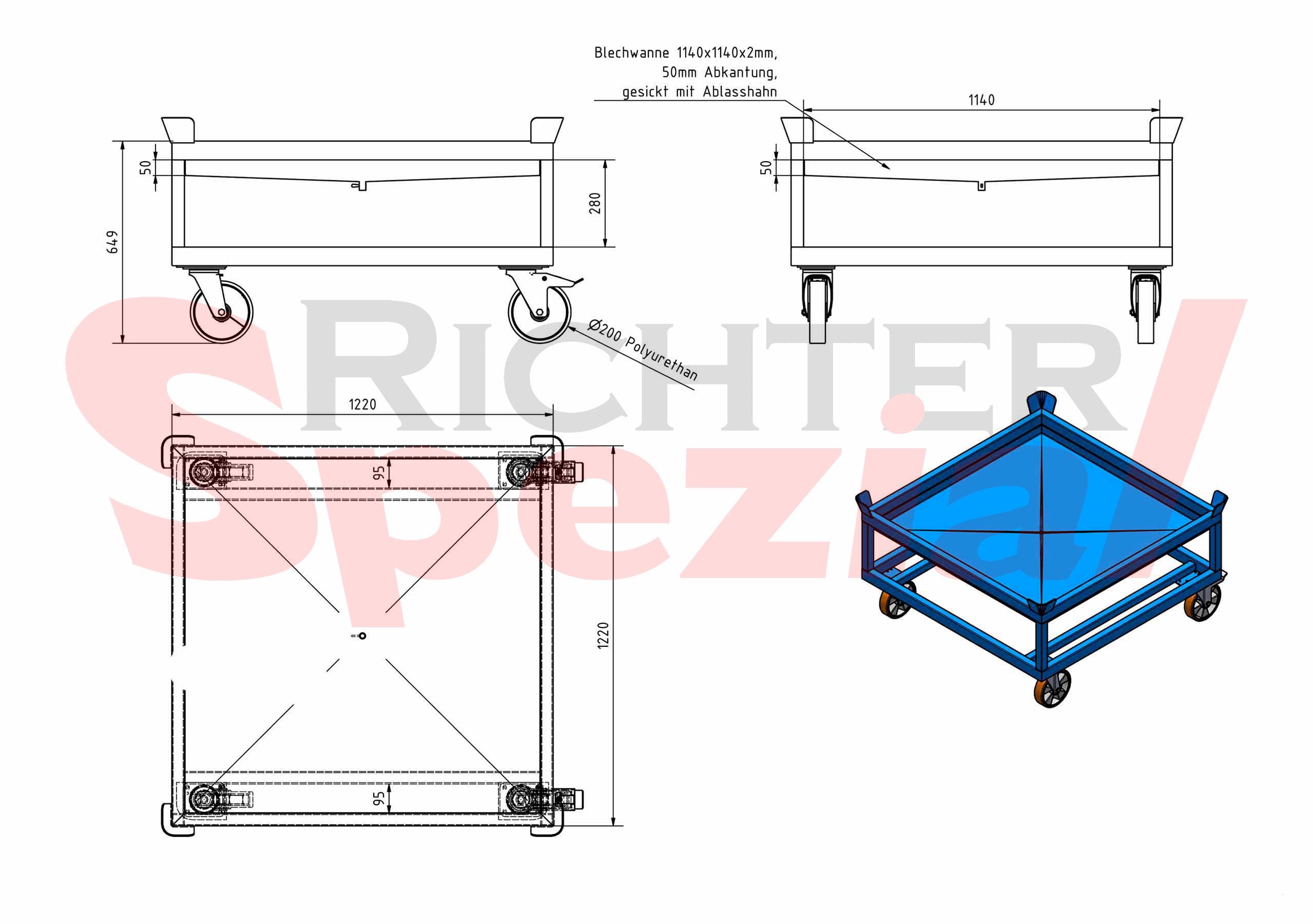 Fahrgestell mit 2,5 Tonnen Traglast mit Auffangwanne für Flüssigkeiten incl. Ablasshahn