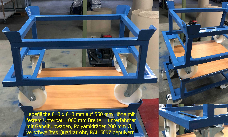 Palettenfahrgestell mit fest aufgeschweißtem Rahmen 810 x 610 mm (mit Fangecken) auf 550 mm Ladehöhe, Untergestell 1000 mm Breite mit Unterfahrungsmöglichkeit für Gabelhubwagen, 1050 kg Tragfähigkeit, Polyamidräder mit 200 mm Ø