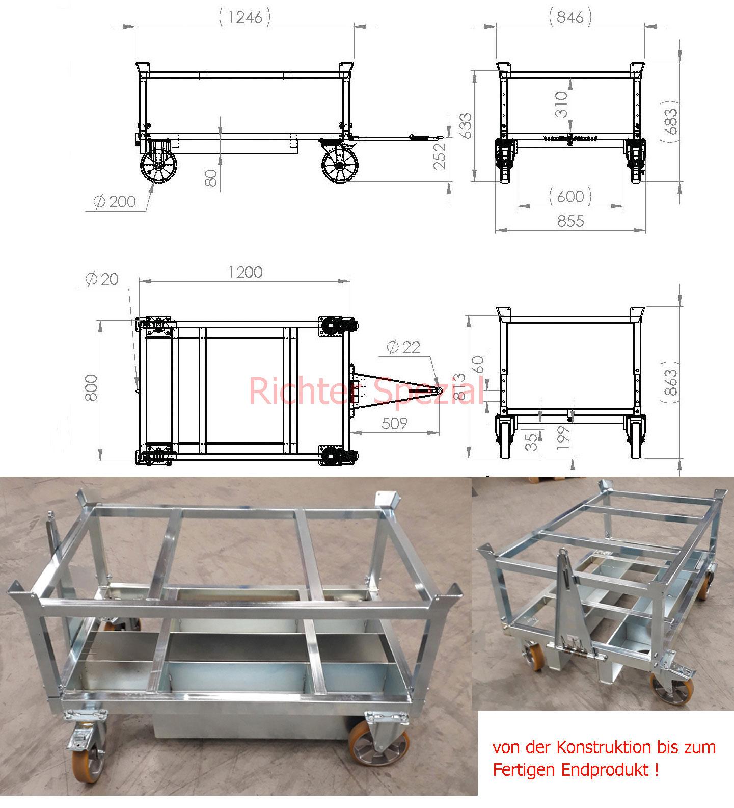 Palettentrolley mit Staplertaschen, Polyurethan-Räder, Deichsel/Kupplung, verzinkt