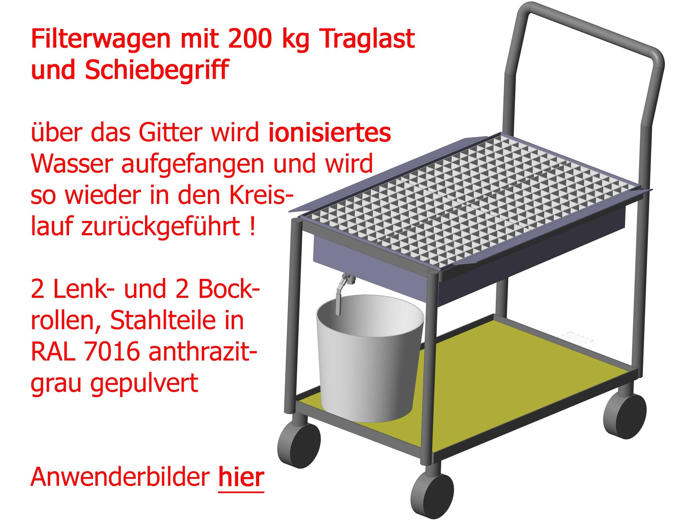 Filterwagen als Tischwagen mit 2 Wannen, oben eingelegter Rost zum Auffangen von ionisiertem Wasser (2 x 15 Liter), um dieses aufgesammelt direkt wiederverwerten zu können, RAL 7016 gepulvert, #8493
