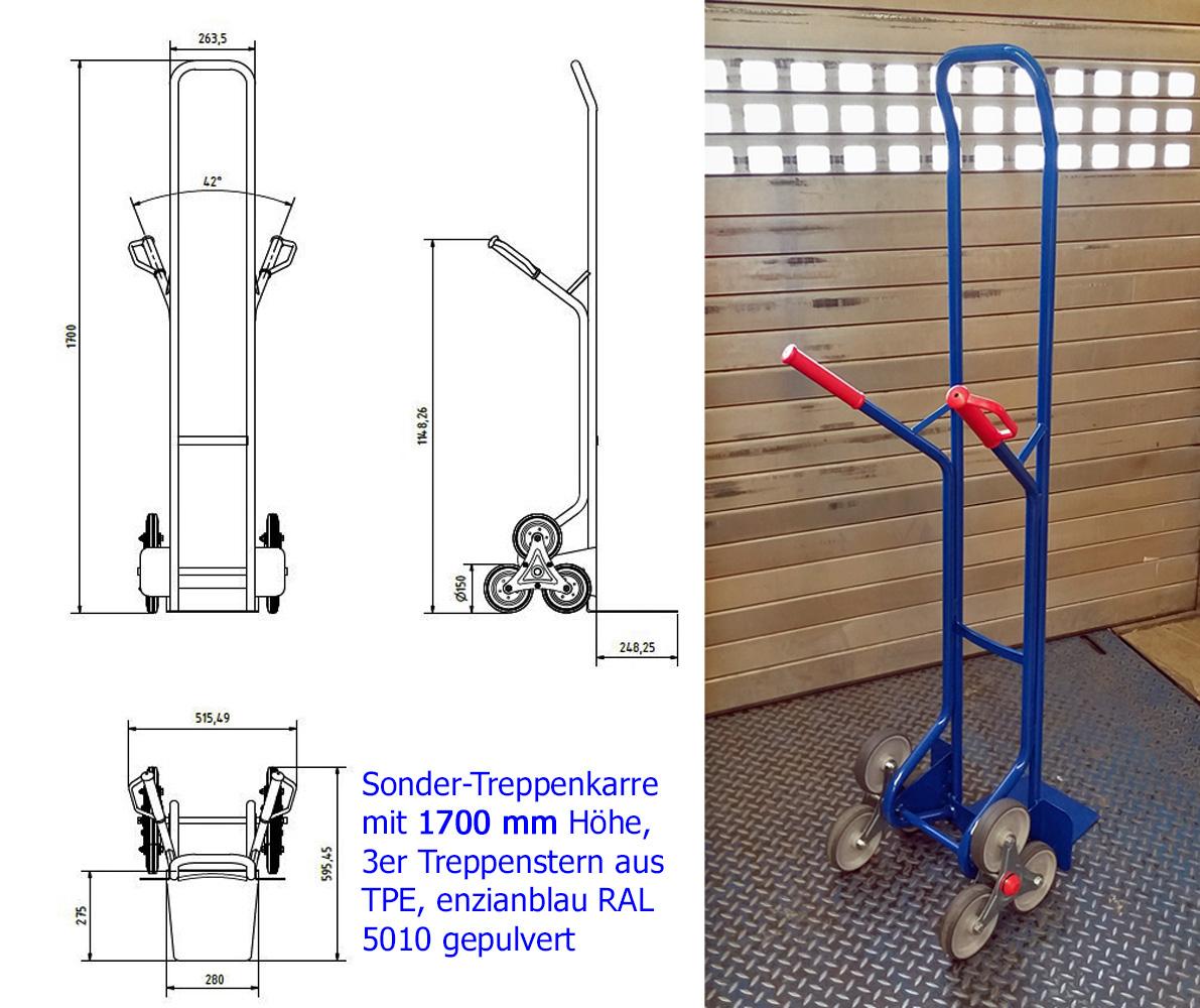 Treppenkarre mit Sonderhöhe 1700 mm für den Heizungsbau, 200 kg Tragfähigkeit, 3fach Treppenstern aus TPE, mit Freigabezeichnung