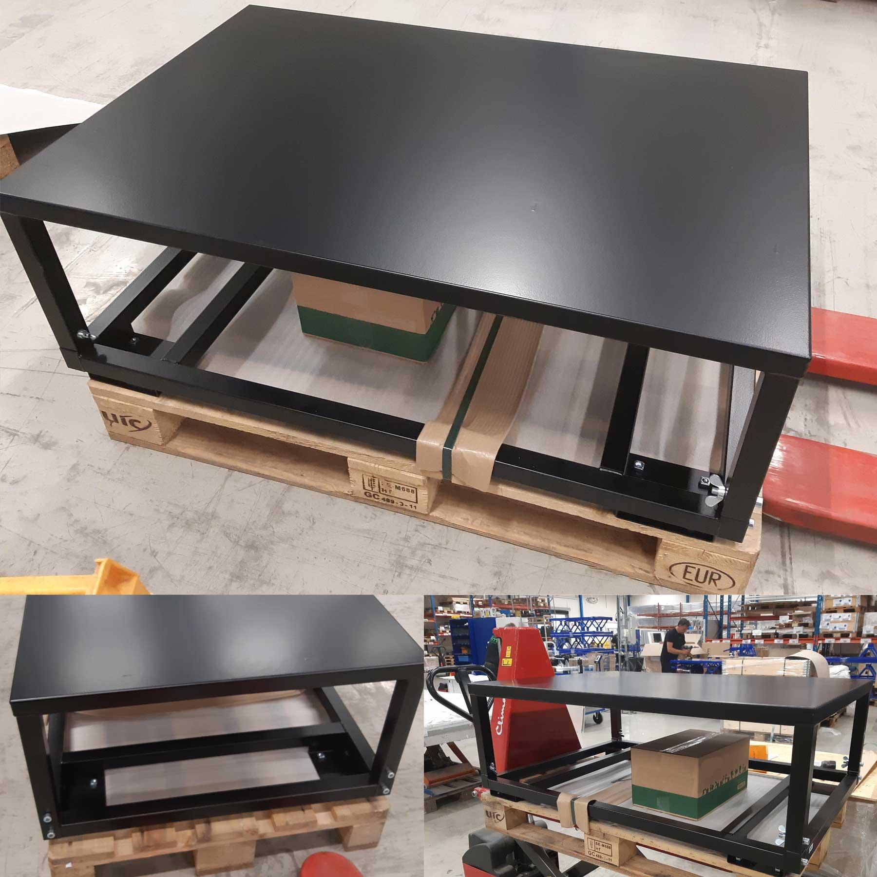Gestell (basierend höheneinstellbarer Palettenfahrrahmen, im Raster einstellbar) mit fest aufgeschweißtem Stahldeckel in schwarz RAL 9005 gepulvert als optischer Hingucker mit ergonomischer Arbeitsfläche