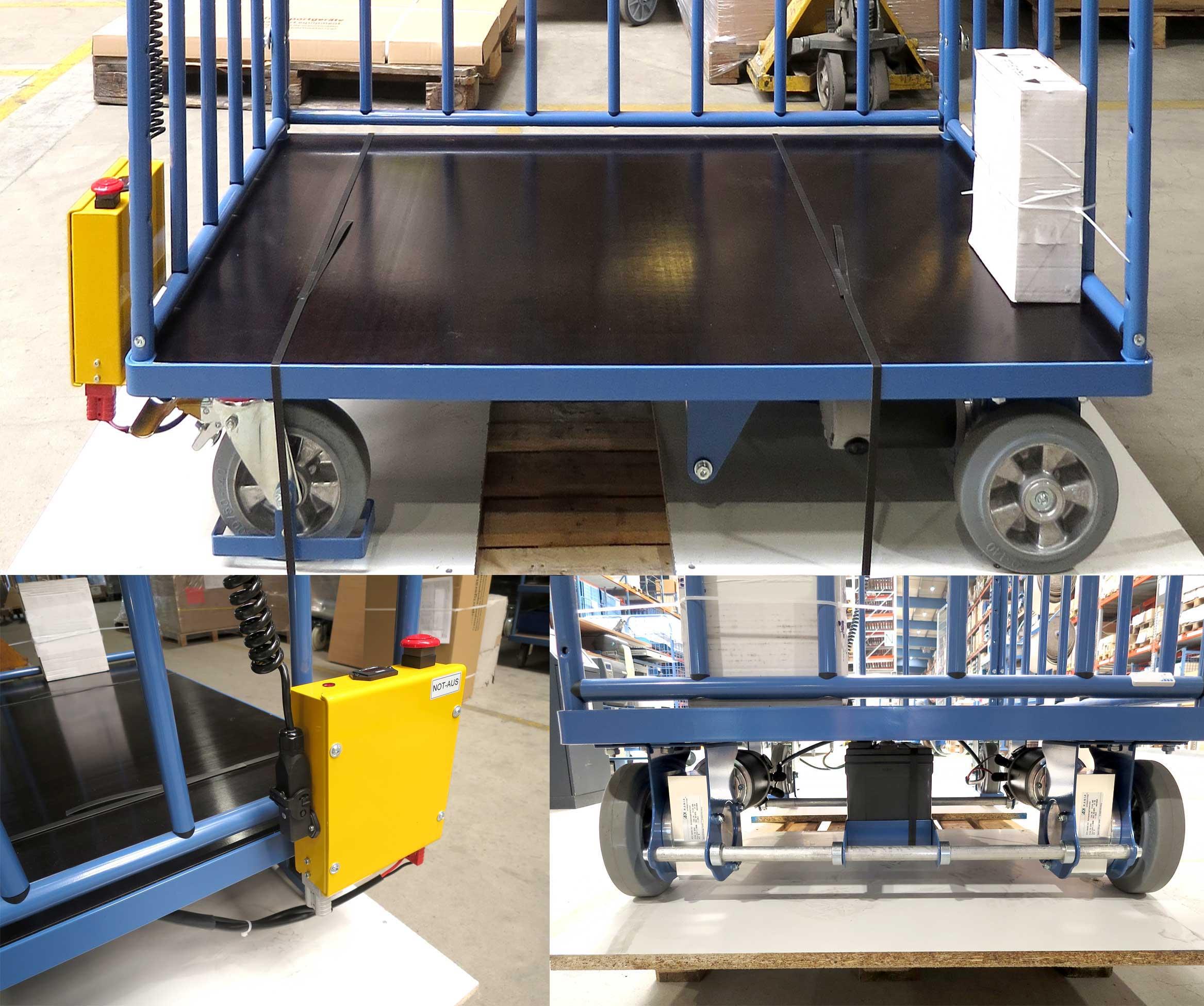 Gitterwagen mit Siebdruckplatte und Elektro-Fahrantrieb, hier Detailaufnahmen Motor, Steuereinheit etc.