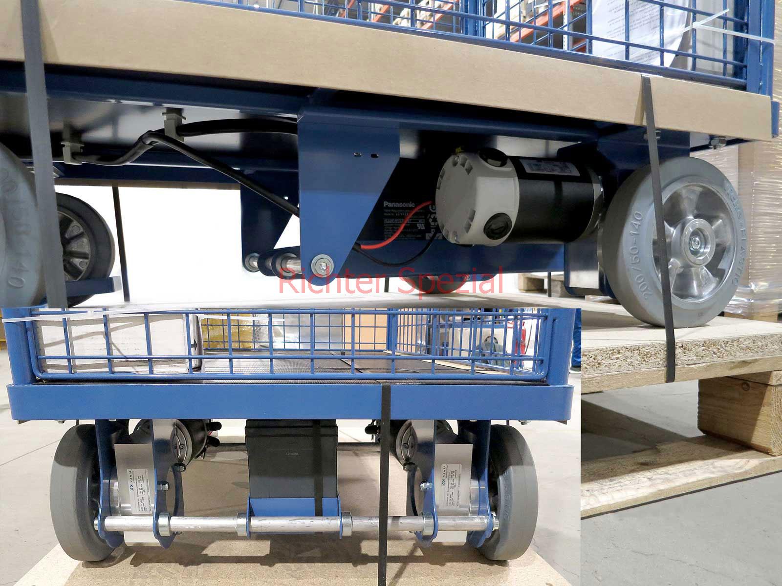 Vierwand-Gitterwagen mit Elektromotor (Maschung 50x50mm), Einsatz in der Industrie mit reduzierter Fahrgeschwindigkeit