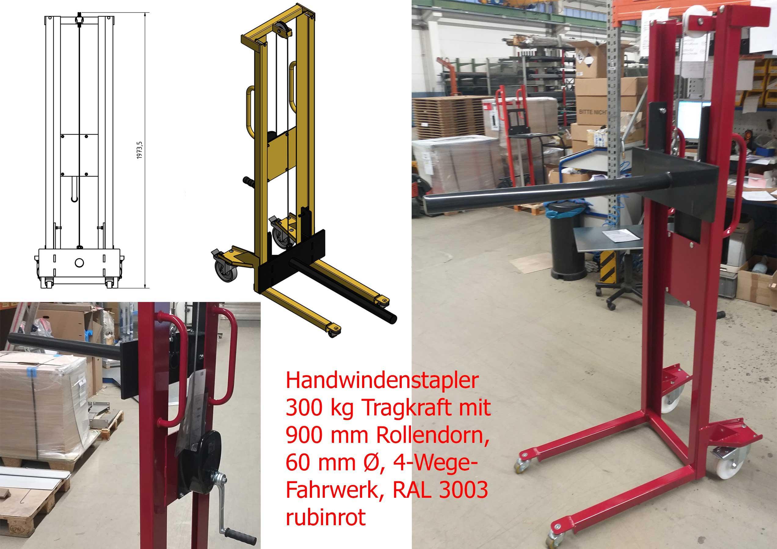 per Stahlseil hebender Windenstapler mit 4-Wege-Fahrwerk und 900mm langem Lastdorn, 60 mm Ø und 300 kg Belastbarkeit