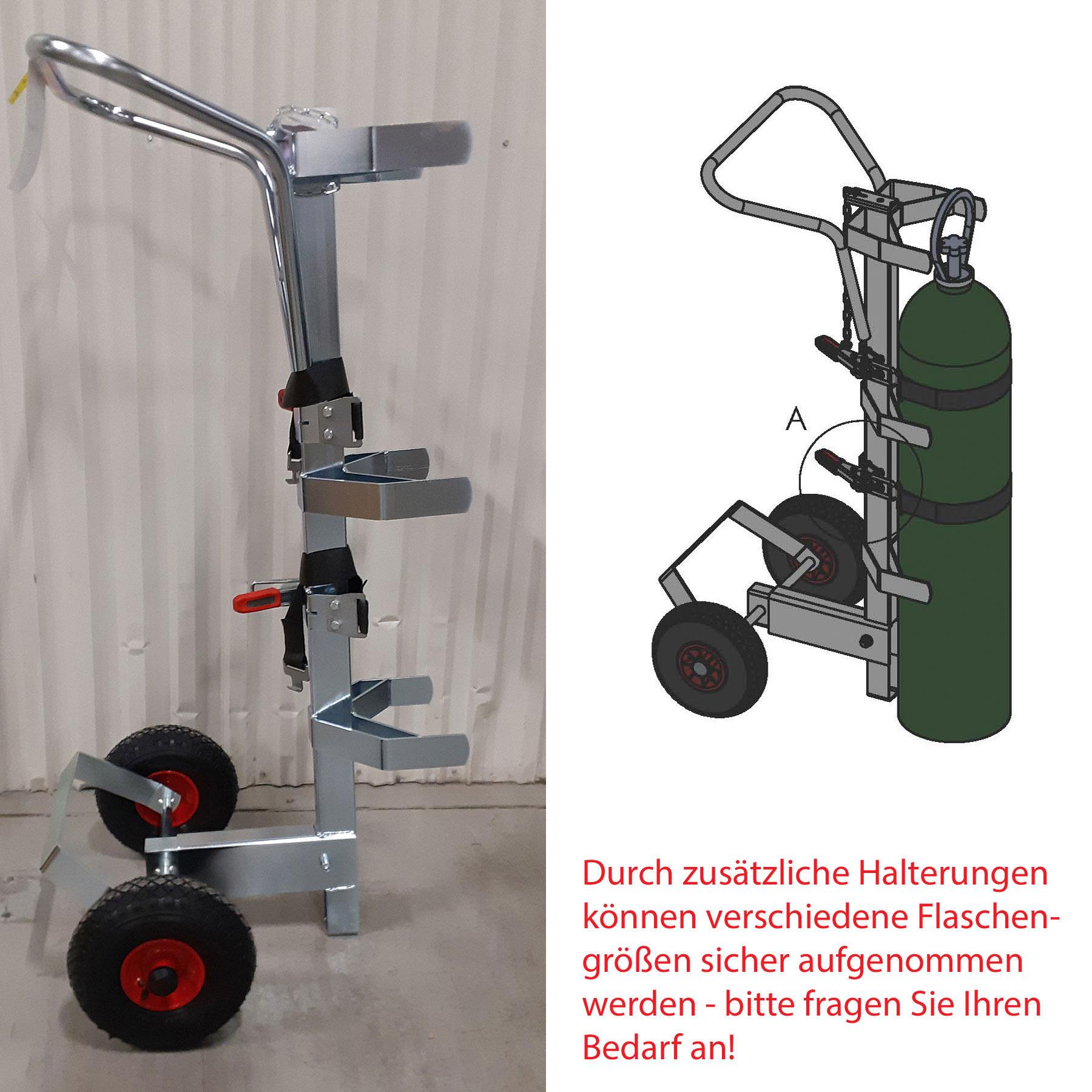 Gasflaschenlifter für zwei verschiedene Flaschengrößen mit Aufnahmen und Halterungen