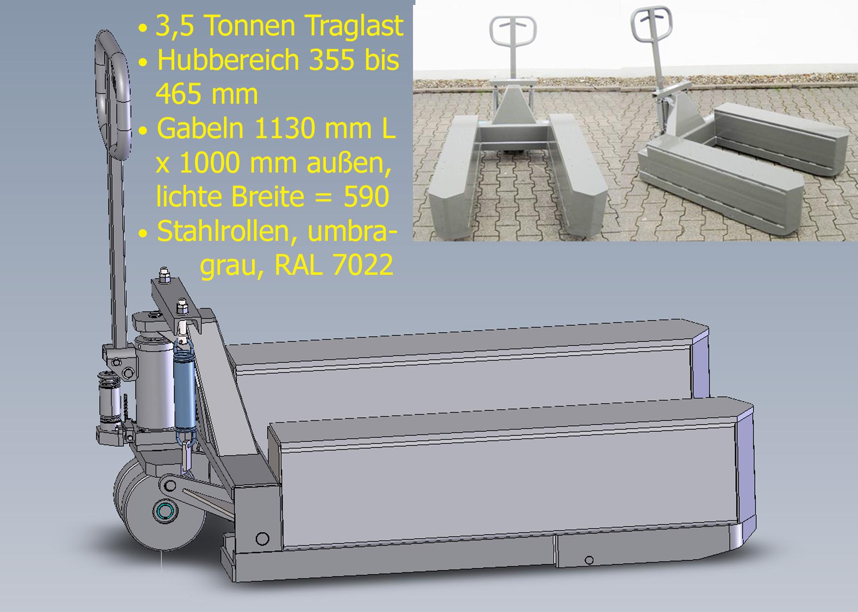 Schwerlast-Hubwagen mit 3500 kg Flächenlast bei Hubbereich 355 bis 465 mm