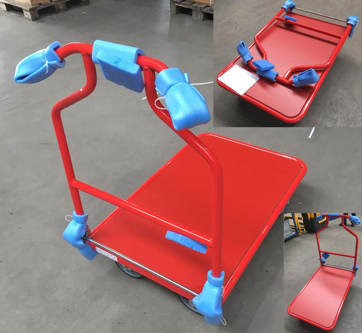 Magazinwagen Ladefläche 900x600 mm mit Klappgriff, komplett in rot (Holzwerkstoffplatte) und in RAL 3028 reinrot gepulvert