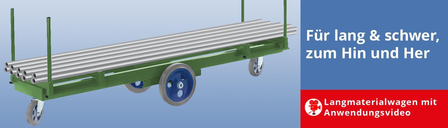 Langmaterial-Transportwagen für Lasten bis 3 Tonnen, steckbare Rungen, auch im Sonderbau
