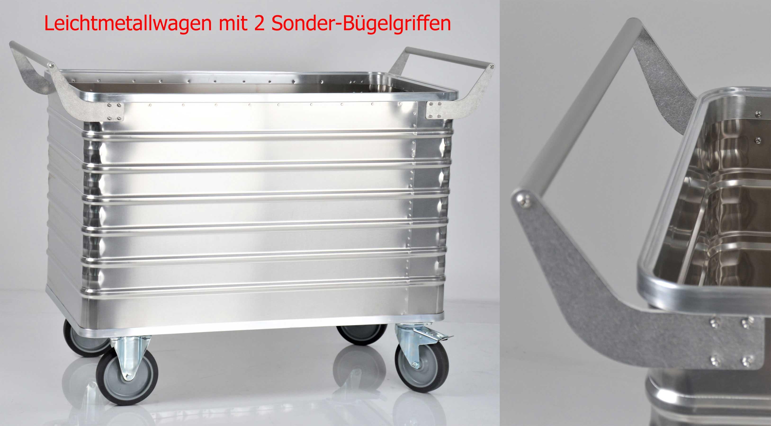 Leichmetall-Transportwagen mit 656 Liter Fassungsvermögen (250kg) und 2 runden Schiebegriffen für den Einsatz im Krankenhaus