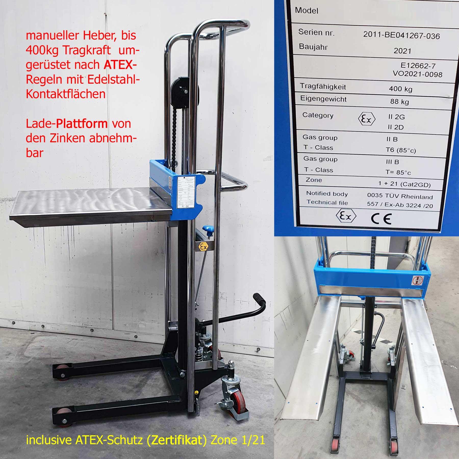 Minilifter in ATEX-Ausführung, 400 kg; zum Einsatz in der EX-Zone sind die Gabelzinken und die abnehmbare Ladefläche mit Edelstahl belegt, Lieferung incl. Zertifikat!