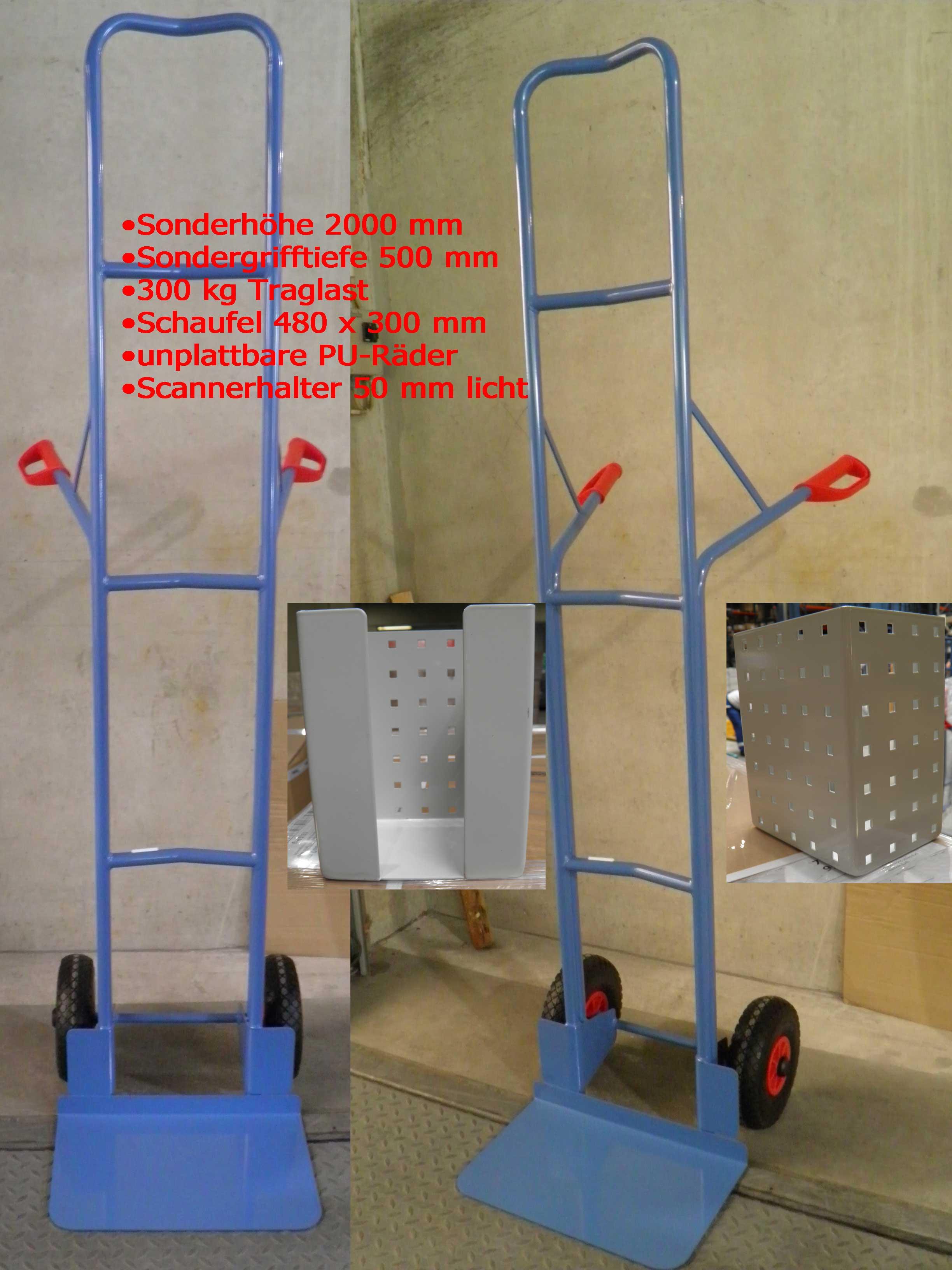 Sonder-Sackkarre mit 2000 mm Bauhöhe. 300 kg Traglast, breiterem Scannerhalter (50 mm licht), großer Schaufel 480 mm B x 300 mm T und größerer Grifftiefe 500 mm