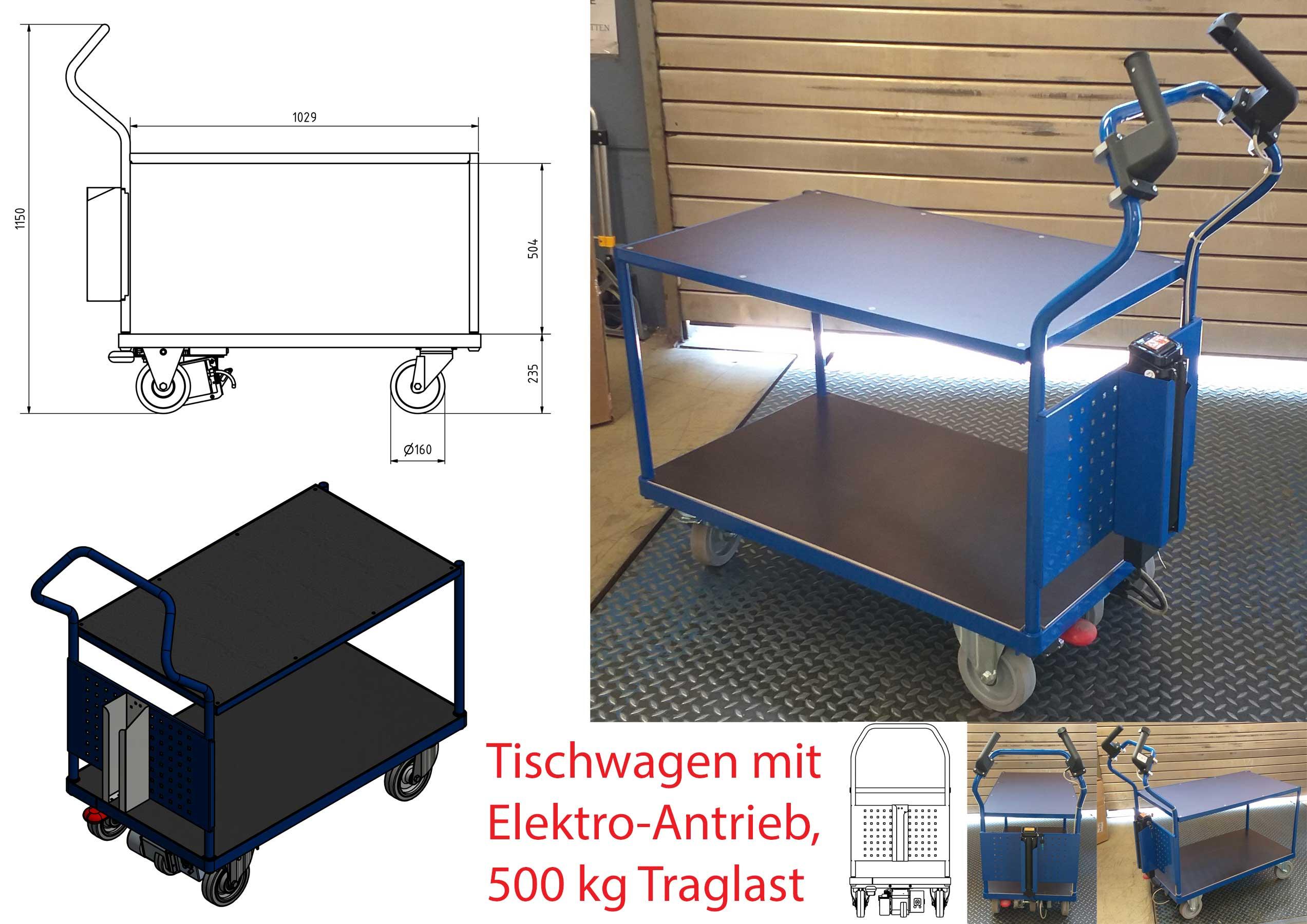Elektrisch verfahrbarer Etagenwagen mit ergonomischen Handgriffen und 1000mm langer Ladefläche