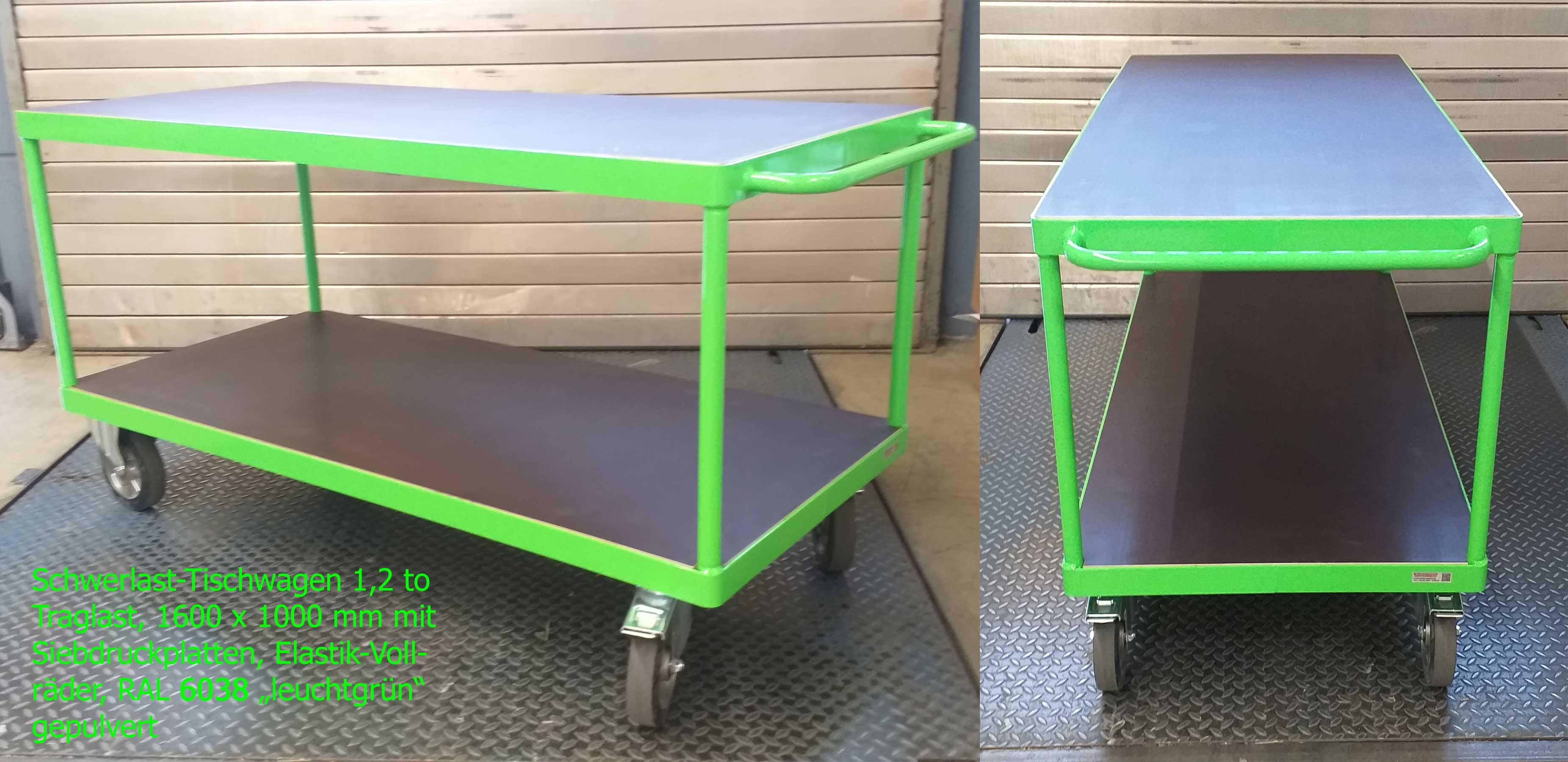 schwerer Tischwagen mit 2 Ladeflächen aus Siebdruckplatten in LEUCHTGRÜN – RAL 6038 – einbrennlackiert