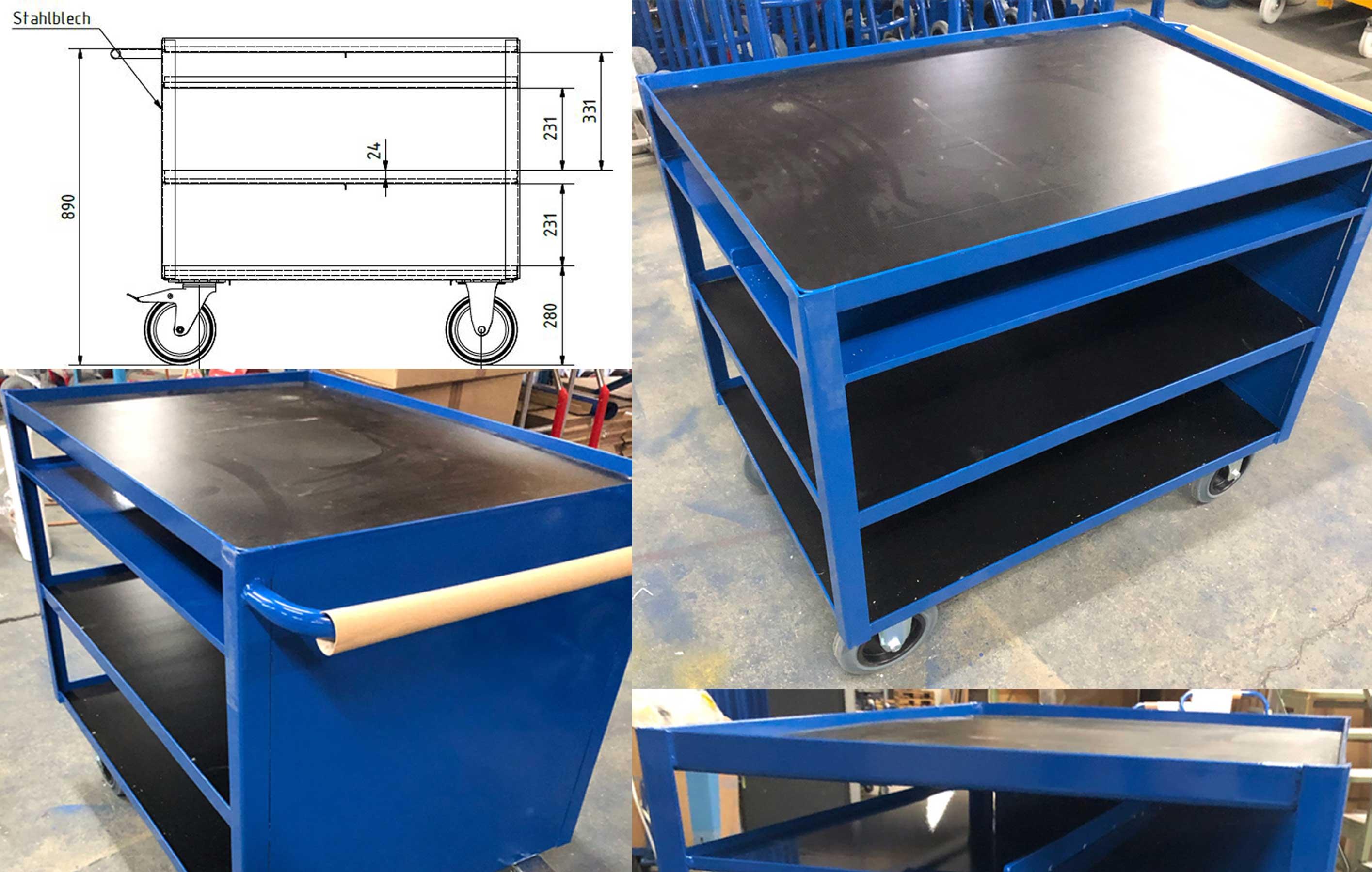 Etagenwagen für die Industrie mit Siebdruckplatten und rundumlaufendem Stahlrand, Einlegeboden aus Stahl mit Unterteilung gegen das Durchrutschen und Stirnseite aus Stahlblech