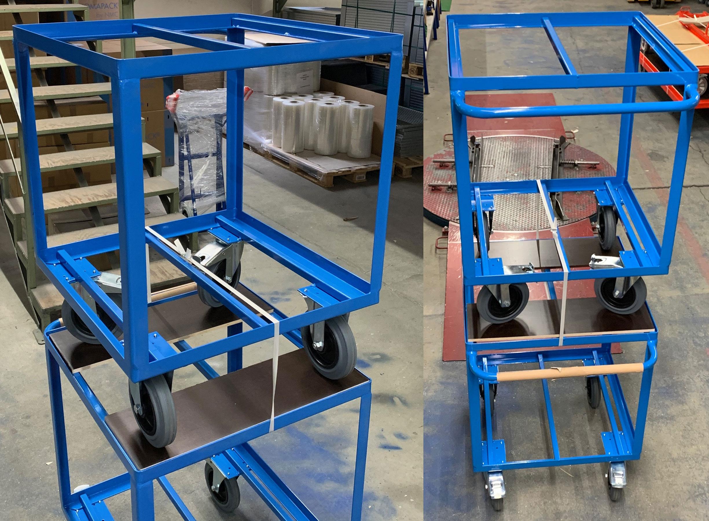 Etagenwagen 700x700 mm in RAL 5015 himmelblau gepulvert, ohne Etagenböden