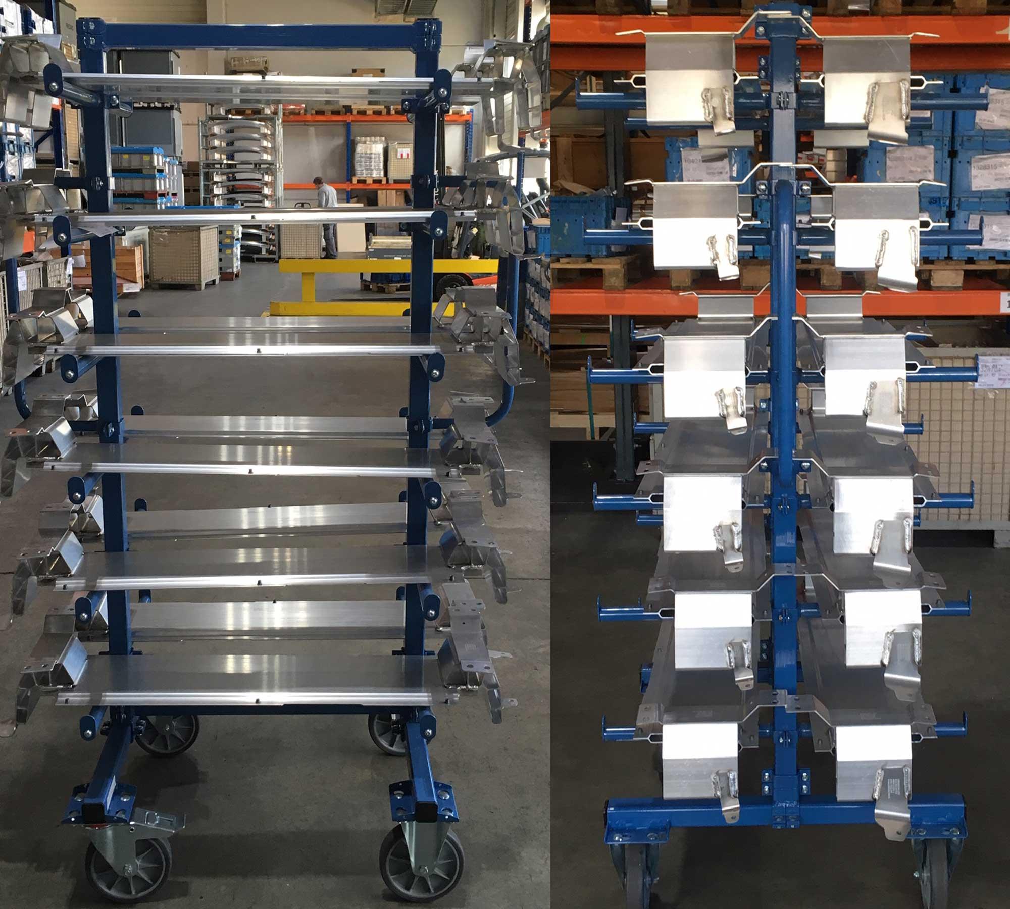 Hordenwagen 800 x 800 mm mit zweiseitigen Auflagen á 370mm plus Grundboden, Schiebegriffe, hier in der praktischen Anwendung beim Kunden