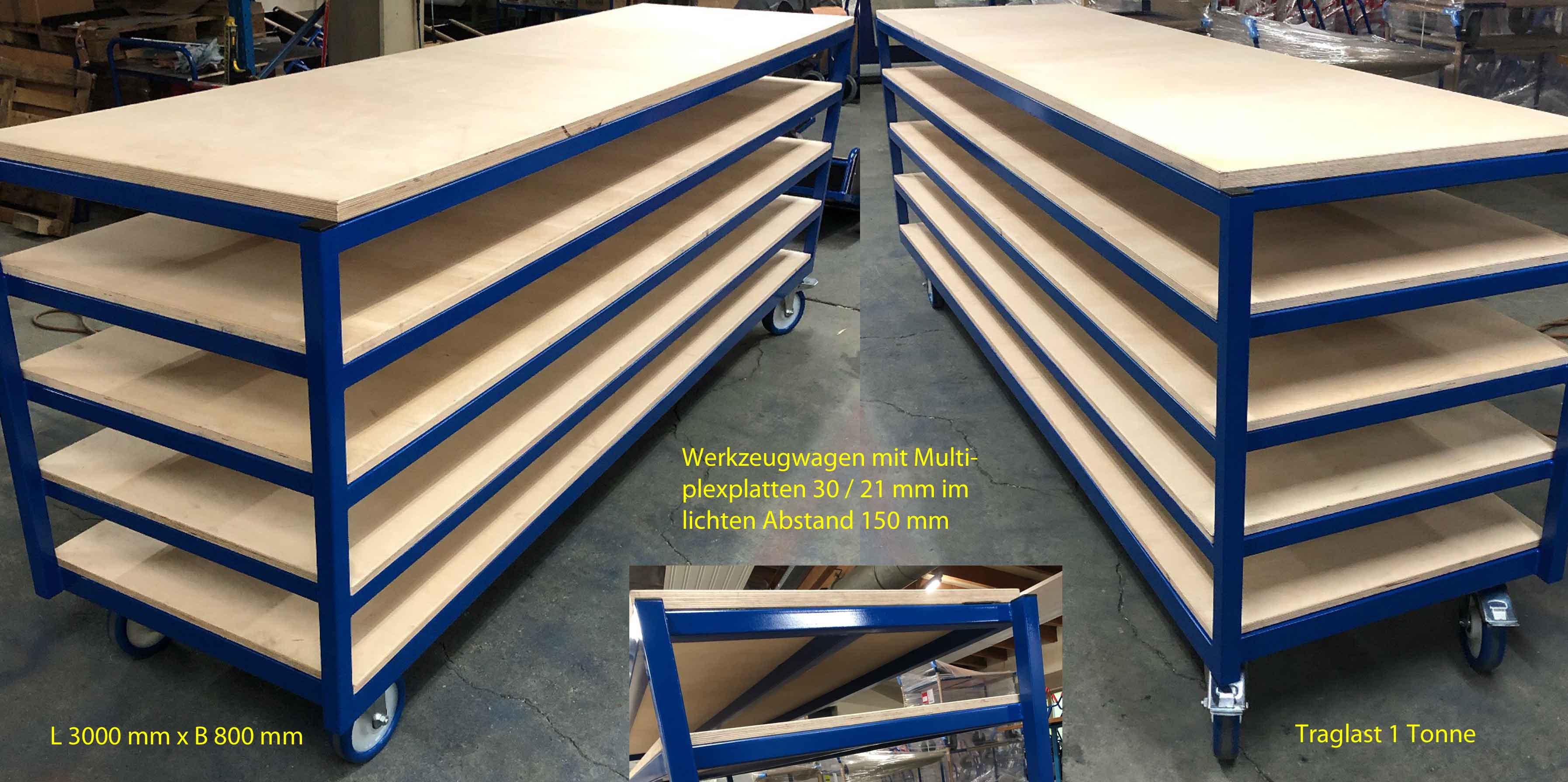Werkzeugwagen 1 Tonne Nutzlast, 3 Meter lang, 80 cm breit, glatte Multiplexböden, Polyurethanräder (Kunststofffelge, Kugellager)