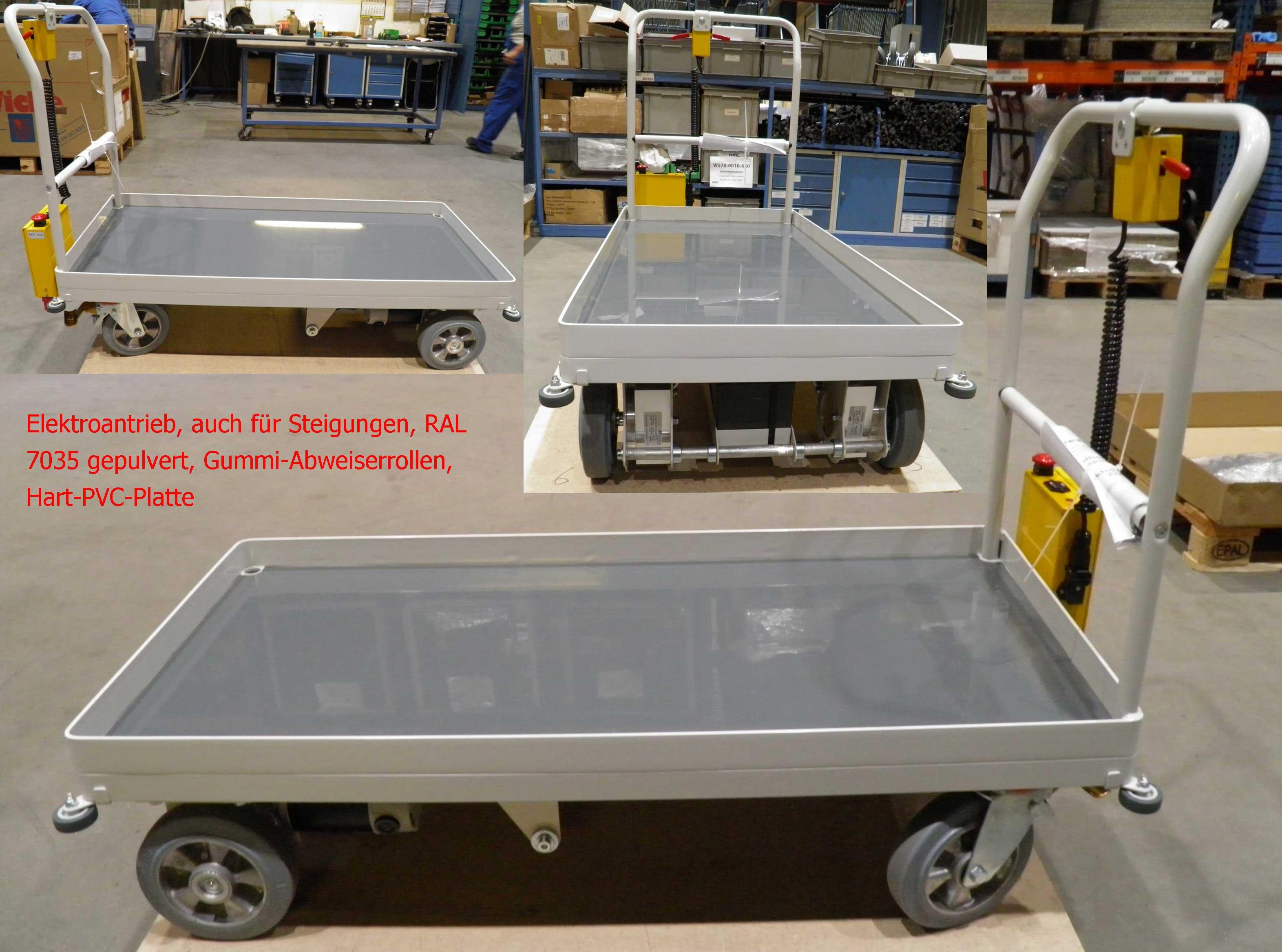 Plattformwagen mit seitlichen Abweiserrollen, in RAL 7035 lichtgrau gepulvert, elektrischem Fahrantrieb und grauer Hart-PVC-Ladefläche