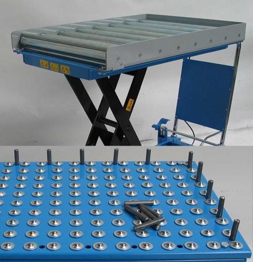 Scheren-Hubtisch, oben mit kugelgelagerter Rollenbahn incl. Seitensicherung und unten mit Kugelbahn