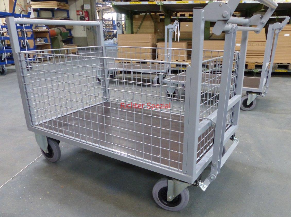 Gitterwandwagen mit Totmannbremse und rutschhemmender Siebdruckplatten gepulvert in RAL 7035