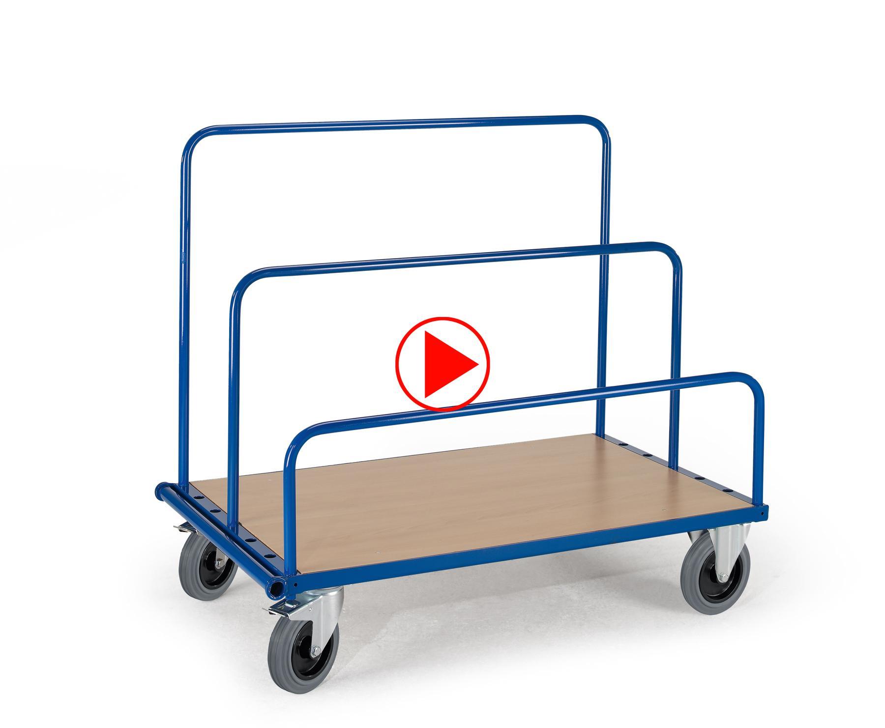 Anwendungsvideo des Plattenwagens; ein- und ausstecken der Bügel, fahren