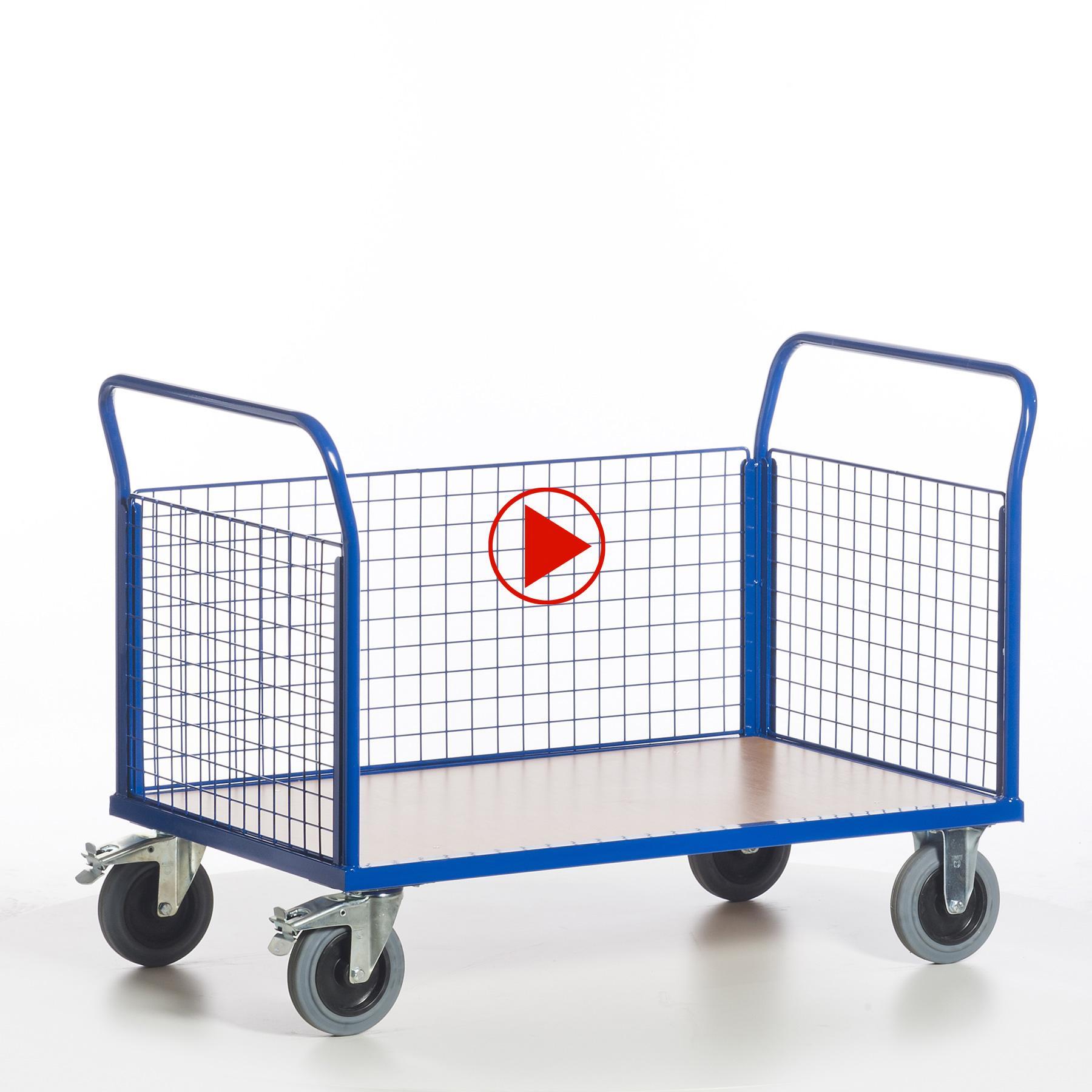 Videoansicht für Gitterwandwagen mit drei geschlossenen Seiten