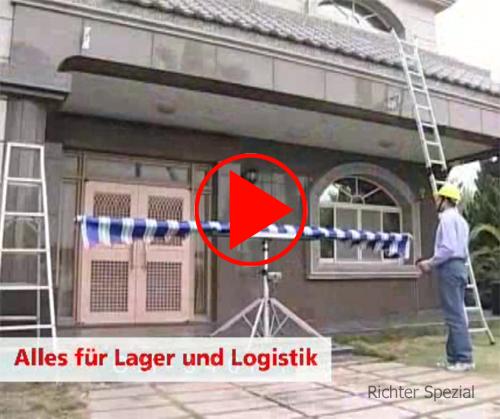 Video zum Montage-Lifter, hier wird eine Markise durch eine Person elektrisch gehoben (Modell mit Teleskopfüßen)
