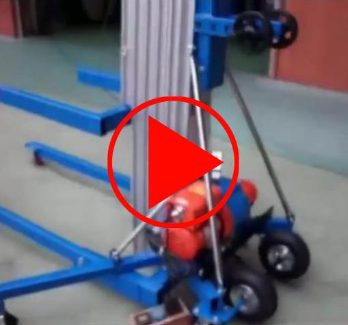 Video zur Montage, Demontage und zum Einsatz des Materiallifts inclusive Notstop-Funktion