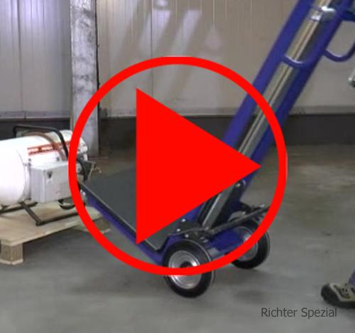 Video mit kompletter Funktion der Hubkarre, geneigt wie eine Sackkarre verfahren, Feststellbremse auf beide Räder, Heben und Senken