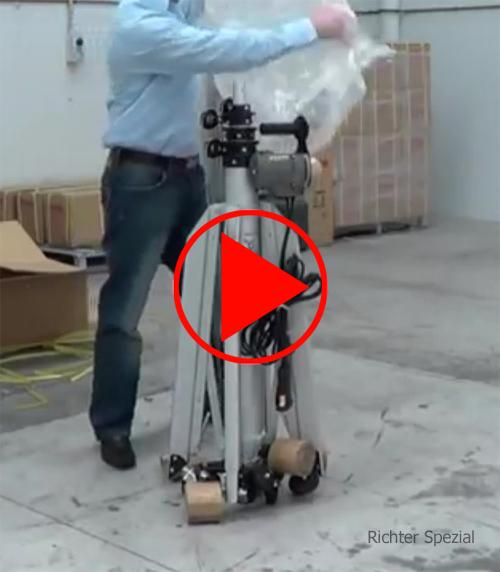 Anwendungsvideo zum Auspacken, Aufstellen und Montieren des Montagelifters