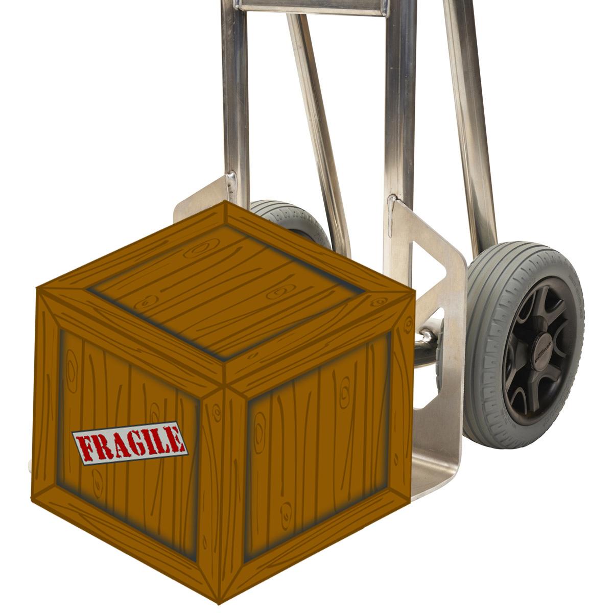 Rundumansichten der 300Kg Alu-Sackkarre mit 6mm Schaufel im Format 285*240mm