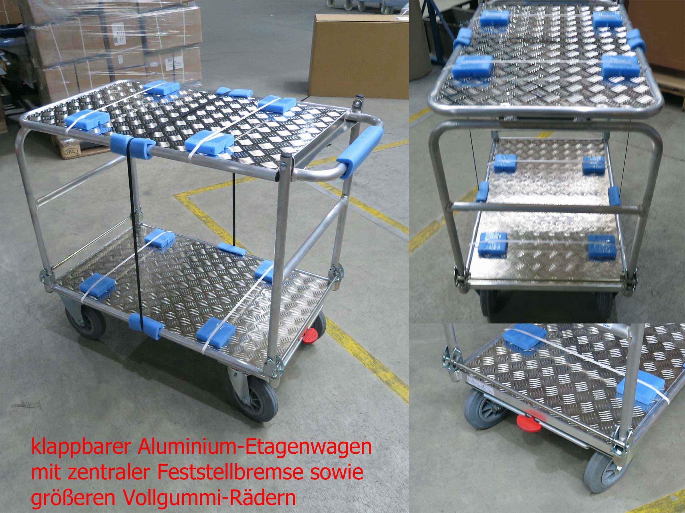 Klappbarer Alu-Tischwagen mit größeren Rädern und Zentralbremse für eine Universität
