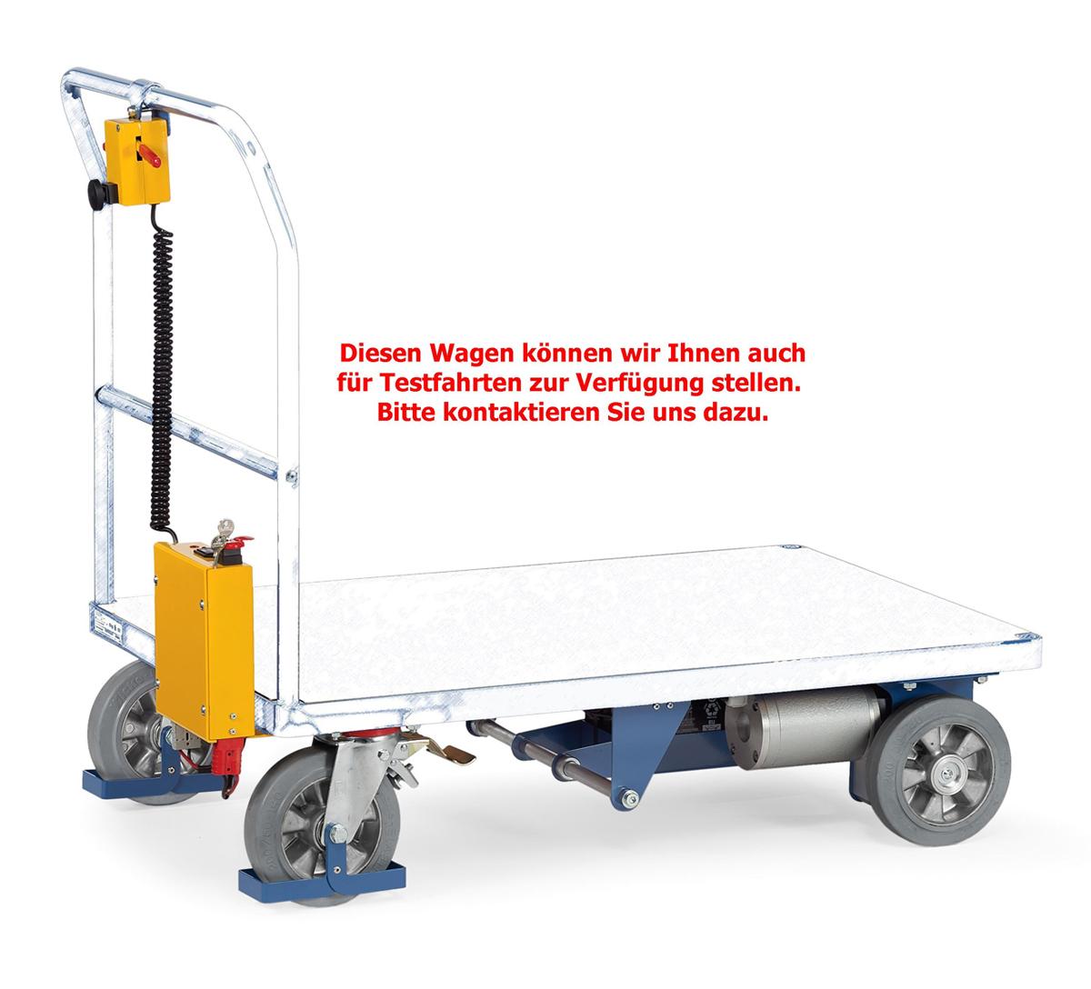 Plattformwagen mit Elektro-Fahrantrieb, auch als Testwagen lieferbar