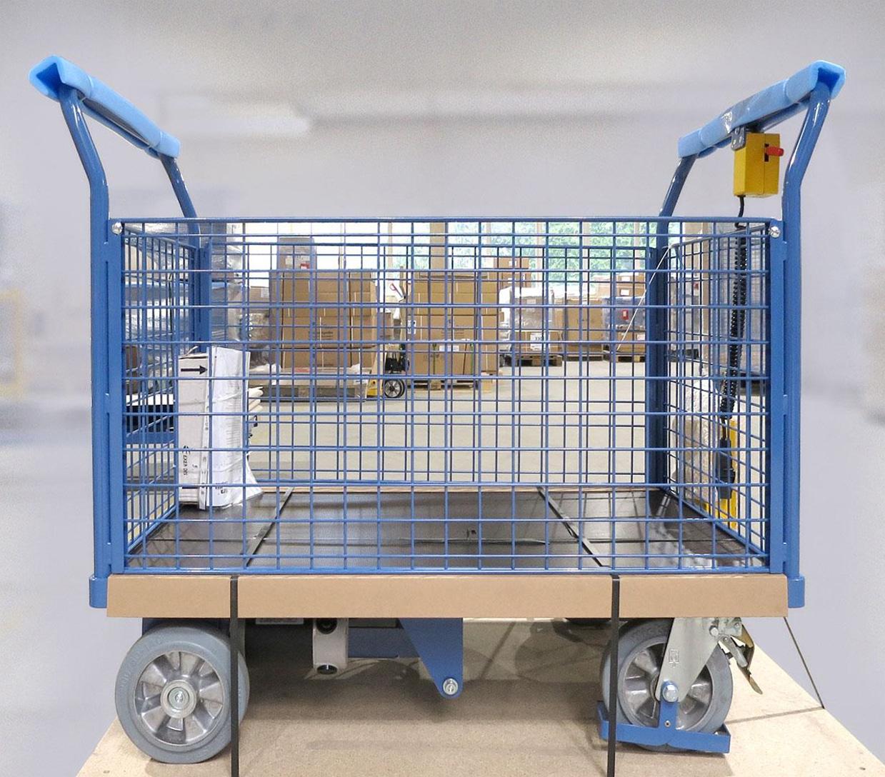Gitterwandwagen im Industrieeinsatz mit Elektrofahrantrieb