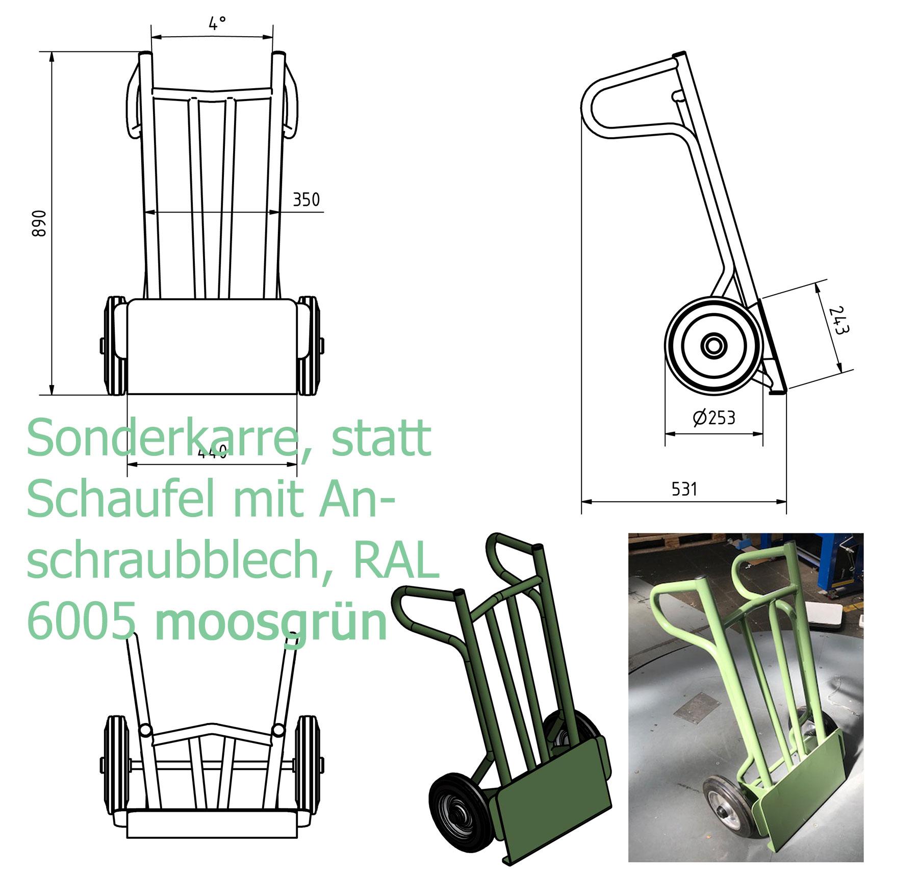 Sackkarre ohne Schaufel, dafür Montageblech - vorbereitet zum Anschrauben von Prüfgeräten, RAL 6005 #moosgrün pulverbeschichtet, Gummiräder