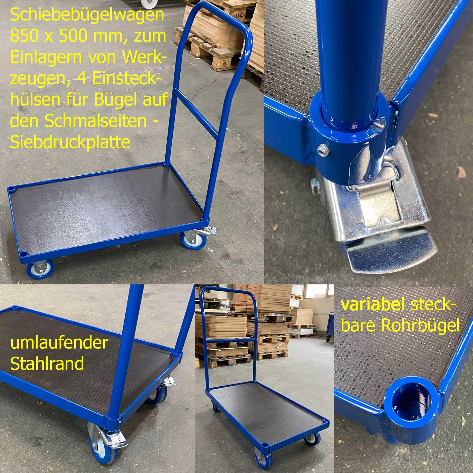 Transportwagen für die Einlagerung von Werkzeugen, 4 Einsteckhülsen ermöglichen das schnelle Platzieren von Rohrschiebebügeln auf beiden Schmalseiten, Siebdruckplatte und leichter Stahlrand